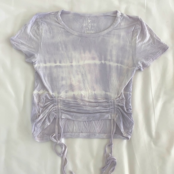 American Eagle Soft & Sexy Ruched Tie Dye Crop